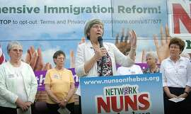 Sister Simone Campbell speask during the Network Nuns on the Bus campaign outside of the Mercy Ministries of Laredo Sunday afternoon.