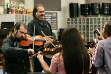 South San head Mariachi instructor Peter Leo Moreno (left) and his father, Pete Moreno, will perform with Mariachi Los Parientes and some mariachi students at the annual dinner.