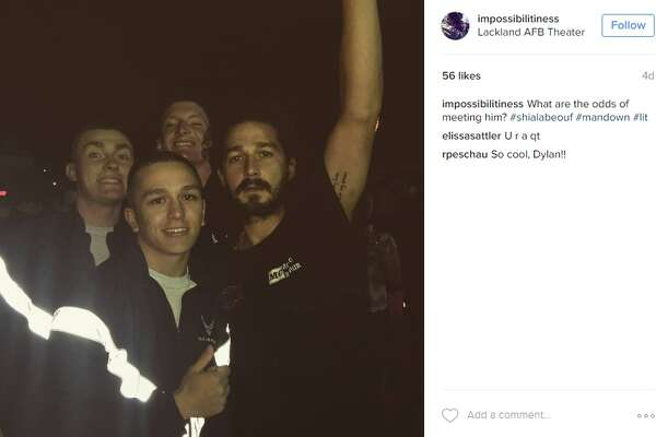 Shia LaBeouf hangs at Lackland Air Force Base for movie