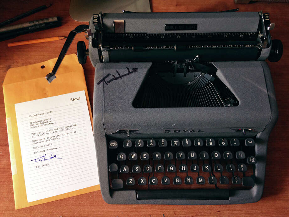 The typewriter and letter sent to artist Denise Esposito by actor Tom Hanks. Photo: Denise Esposito/Courtesy