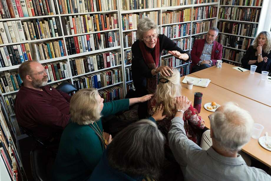 Author Arlie Russell Hochshild speaks to literary lunch attendees at Heyday Books in Berkeley. Photo: James Tensuan, Special To The Chronicle