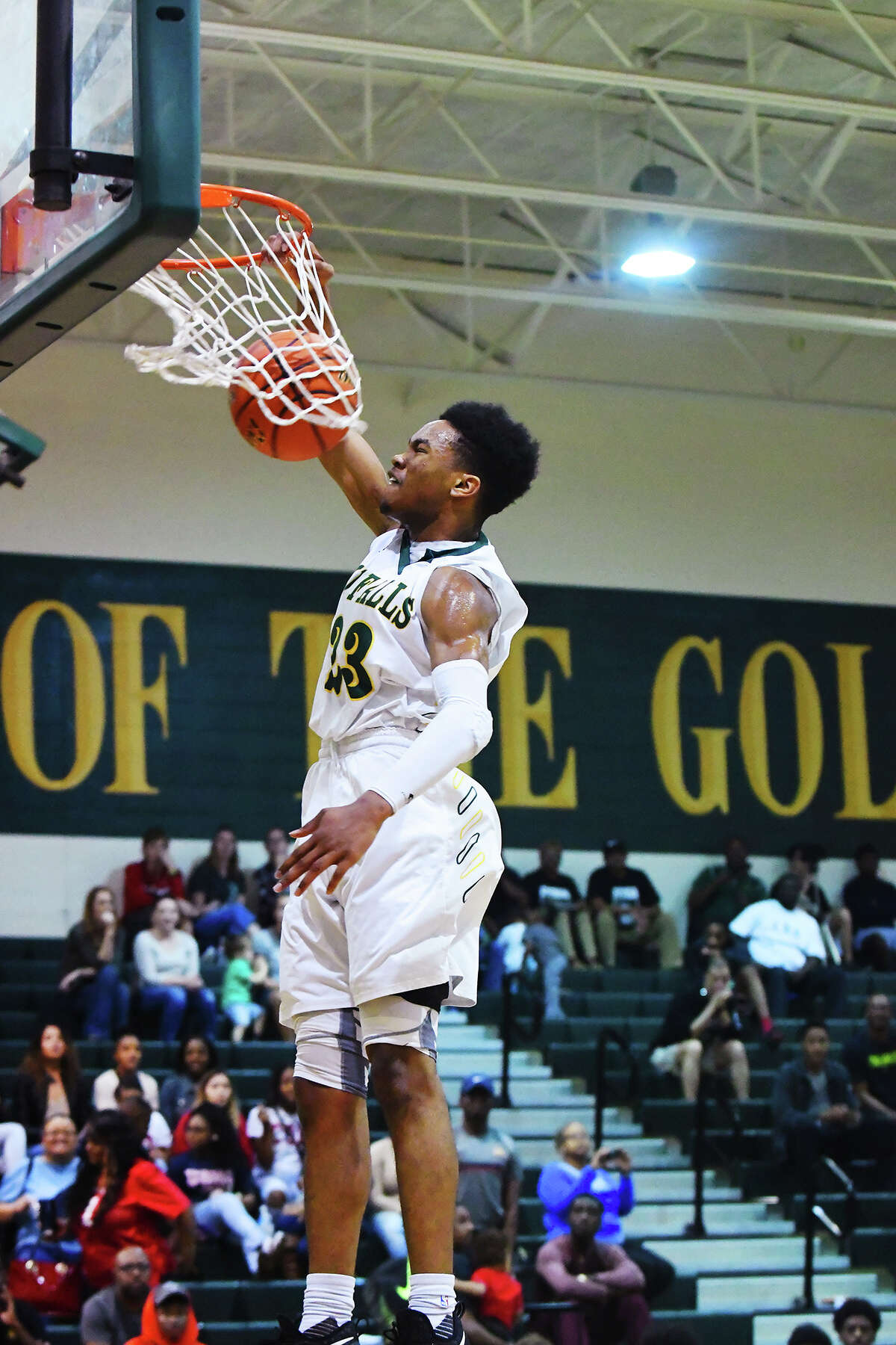 Cy Falls junior guard Nigel Hawkins crams it home at the Border Battle at Cy Falls Tuesday. Hawkins was superlative in the Eagles' matchup against Westfield, scoring a game-high 25 points, and dishing assists and nabbing steals, doing everything and doing it well.