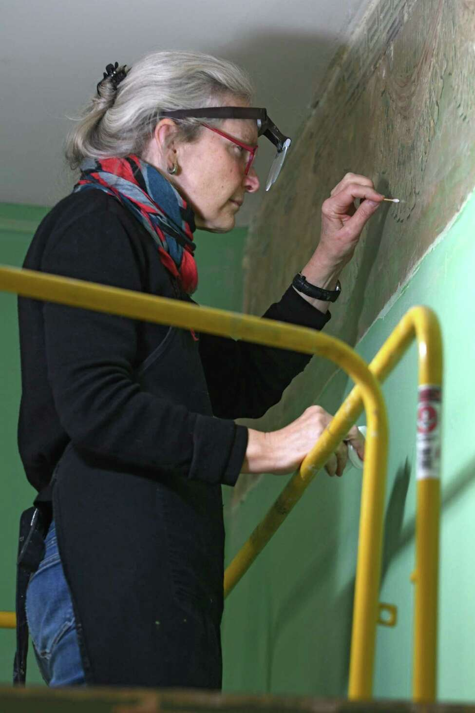 Conservator Margaret Saliske works on restoring the long lost paintings by Thomas Cole at the Thomas Cole Historic Site on Wednesday, Nov. 23, 2016 in Catskill, N.Y. Senator Charles Schumer recently secured over $600,000 to restore the lost American treasures. (Lori Van Buren / Times Union)