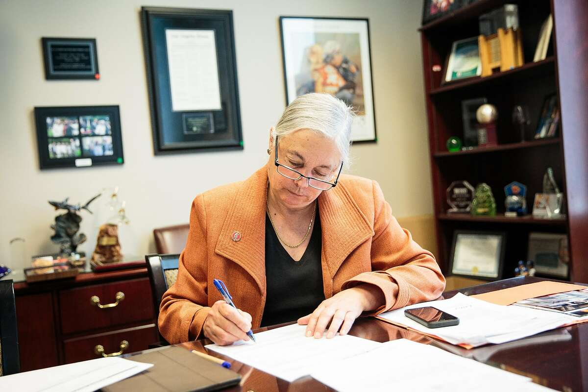 California State Senator Fran Pavley, D-Agoura Hills, signs thank you letters in her office at the State Capitol in Sacramento, California, November 2, 2016.