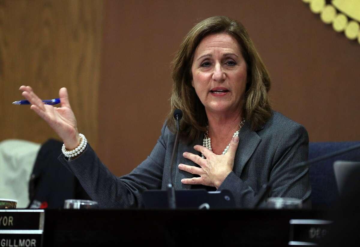 Santa Clara Mayor Lisa Gillmor discusses concerns about San Francisco 49ers management of Levis Stadium during a Santa Clara City Council meeting way back in 2016.