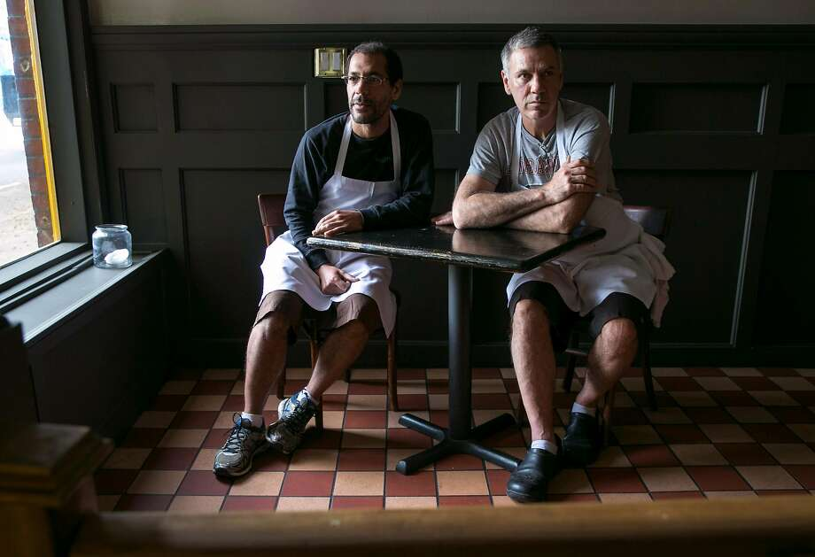 Aaron Presbrey (left) and Barry Moore at their restaurant, Roosevelt Sip 'N' Eat. Photo: Santiago Mejia, The Chronicle