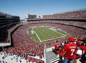 Fans at Levi's Stadium watch during an NFL preseason football game between the San Francisco 49ers and the Denver Broncos in Santa Clara, Calif., Sunday, Aug. 17, 2014. (AP Photo/Tony Avelar)