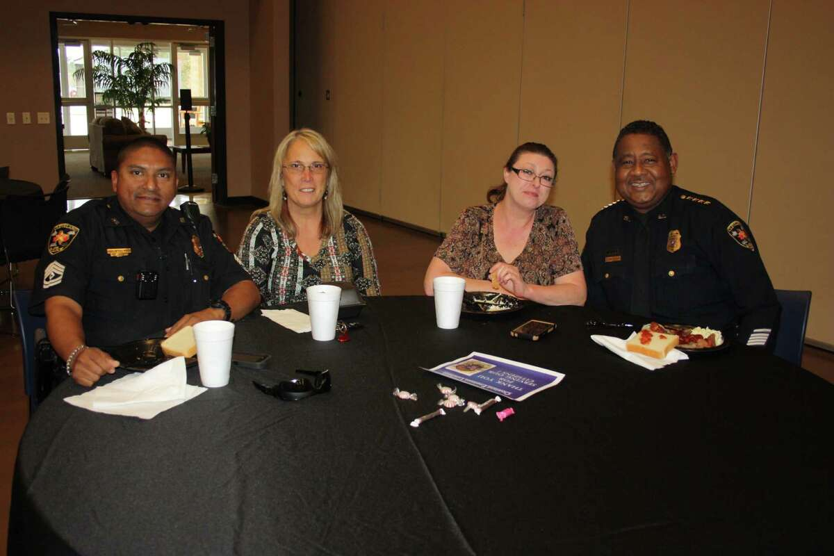 Employees of Cleveland Police Department enjoyed a city employee appreciation luncheon on Nov. 22 at the Cleveland Civic Center. Pictured left to right are Sgt. Sergio Lopez, investigative department secretaries Cindy Foxworth and Shelleen McNeese and Police Chief Darrel Broussard. The luncheon was hosted by the Cleveland Ministerial Alliance.
