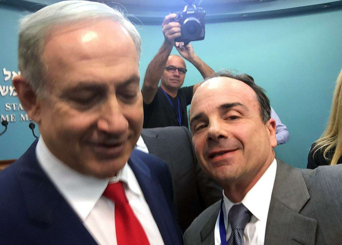 Bridgeport Mayor Joseph Ganim, seen here with Israeli Prime Minister Benjamin Netanyahu, recently spent a week in Israel representing the city.