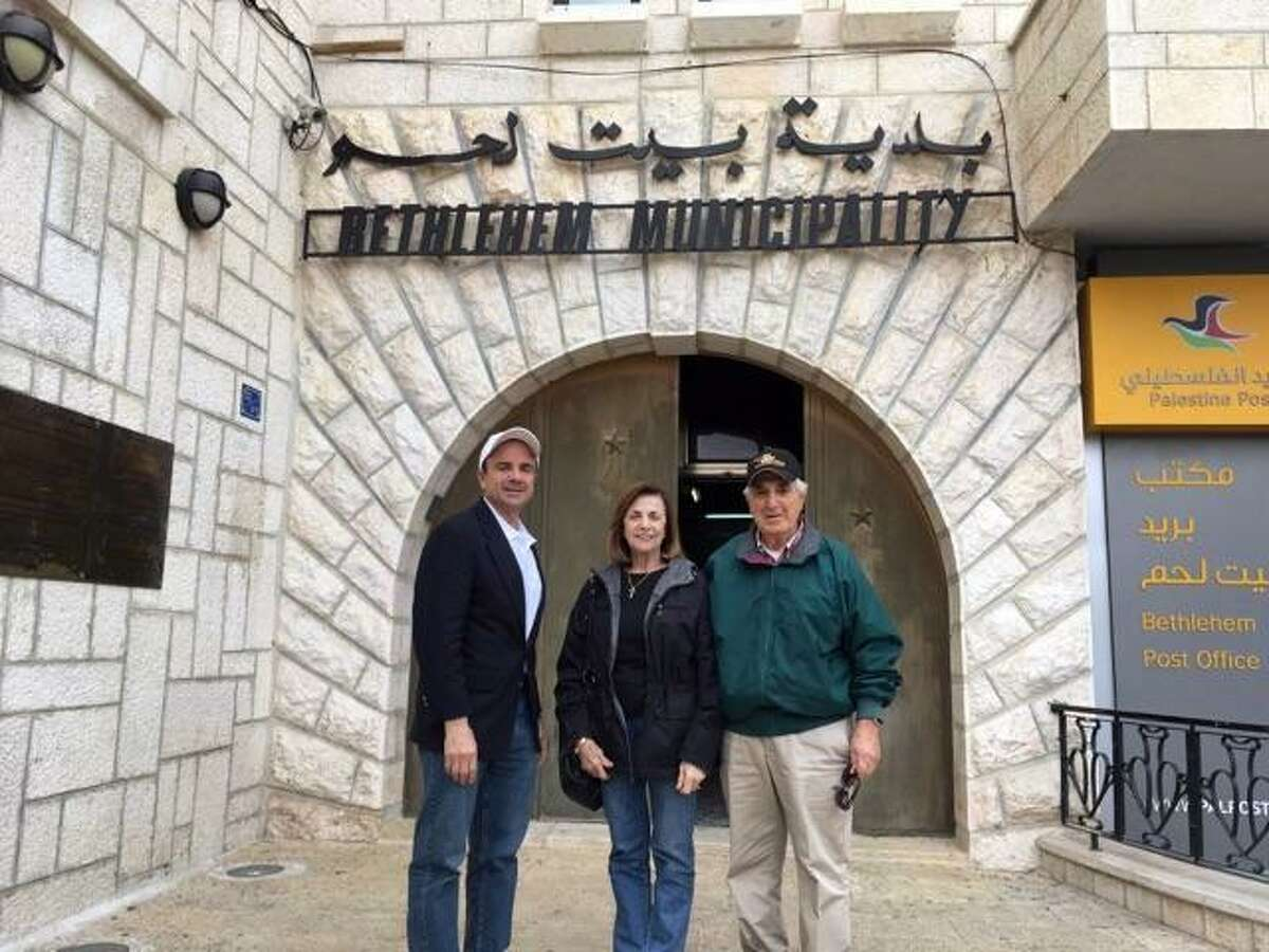 Bridgeport Mayor Joseph Ganim recently spent a week in Israel representing the city. He was joined on the trip by his parents George and Josephine, seen here in Bethlehem.