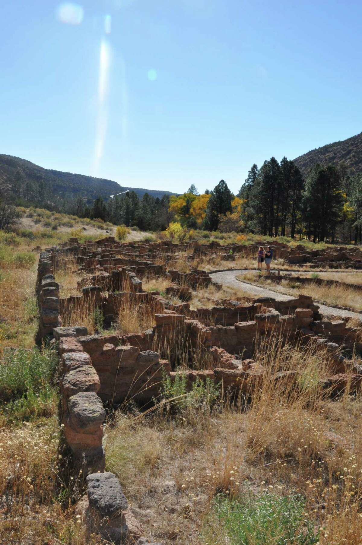 Masonry walls outline the dwellings of the Anasazi at Bandelier National Monument.