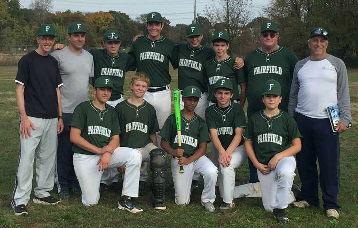 The Fairfield Tallman Builders posted a 10-1-1 record to win the Babe Ruth Major League 13-15 fall baseball title. Team members include, front row, from left, William Lilley, Nicholas Menkes, Mike Pechkis, Alex DiFabio and David Macheret; back row, coach Ray Vogt, coach KeMcKeon, Colin McKeon, Christian DeAngelis, Justin Hallock, Greg Vogt, manager Mike Menkes and coach Dom DiFabio. Not pictured are Ryan Marsden and Sam Weinstein.
