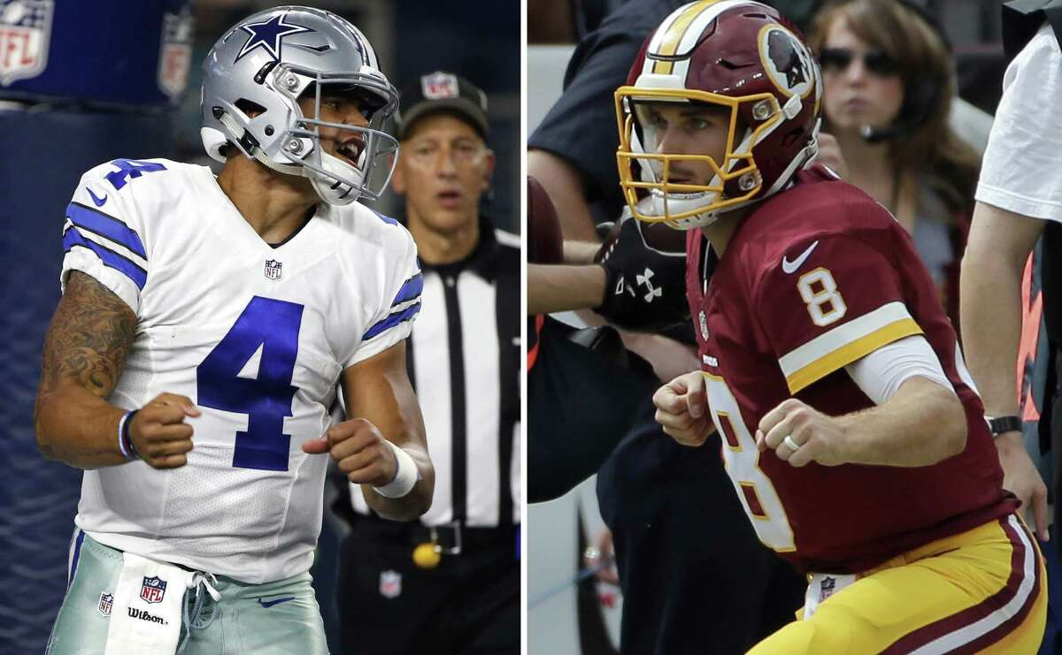 At left, in an Oct. 30, 2016, file photo, Dallas Cowboys quarterback Dak Prescott (4) celebrates after scoring on a running play in the first half against the Philadelphia Eagles, in Arlington. At right, in an Oct. 2, 2016, file photo, Washington Redskins quarterback Kirk Cousins (8) celebrates after a touchdown during the first half against the Cleveland Browns, in Landover, Md.