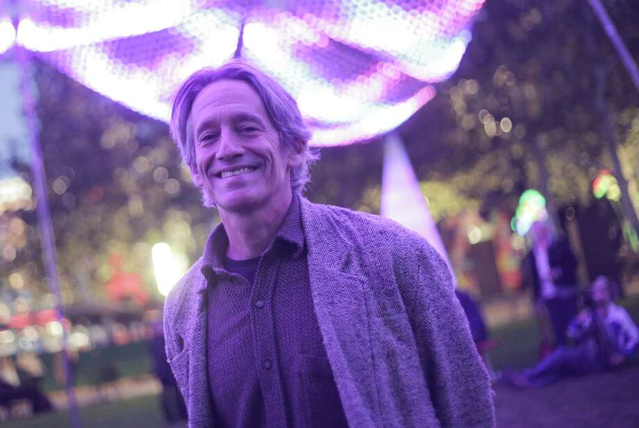 """Christopher Schardt, artist and technology innovator,  with his piece """"Firmament"""" on display at Discovery Green this holiday season include, photographed on Monday, Nov. 21, 2016, in Houston. ( Elizabeth Conley / Houston Chronicle ) Photo: Elizabeth Conley, Staff / © 2016 Houston Chronicle"""