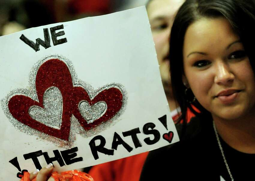 River Rats fan Shonda Rodgers of Ravena shows her team spirit when the Rats play the Hershey Bears in their playoff hockey game on Thursday, April 29, 2010, at Times Union Center in Albany, N.Y. The River Rats lost their last game 5-4 in overtime. (Cindy Schultz / Times Union)