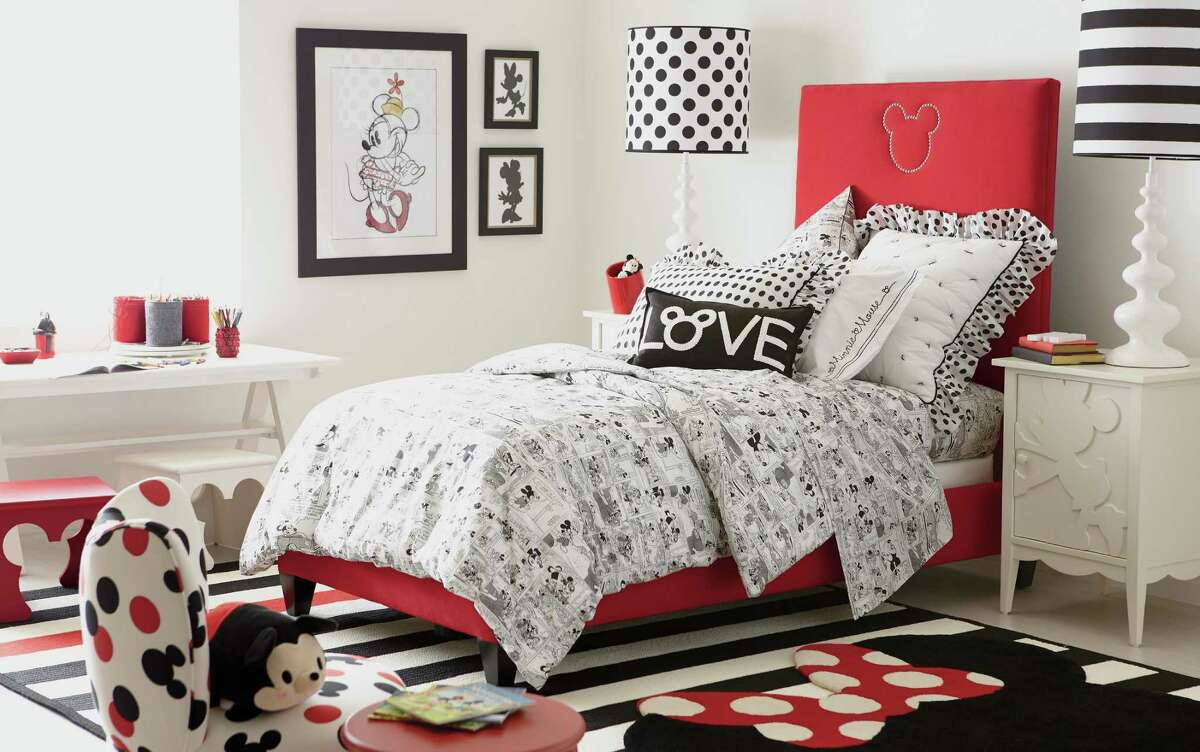 A new Ethan Allen/Disney line is a mix of whimsical and sophisticated elements highlighting Mickey and Minnie on blankets, cabinets, couches, tables and chairs.