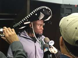 Oakland Raiders' rookie Karl Joseph, who had tackles in Monday's game, wore a sombrero that Mexican City fans threw him afterward.