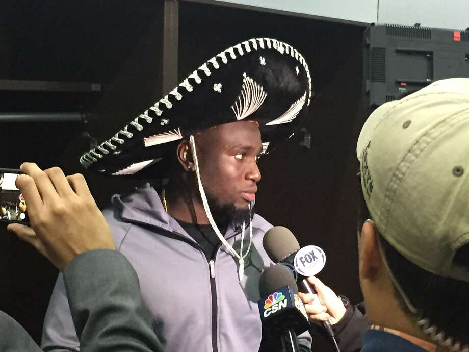 Oakland Raiders' rookie Karl Joseph, who had tackles in Monday's game, wore a sombrero that Mexican City fans threw him afterward. Photo: Vic Tafur, The Chronicle