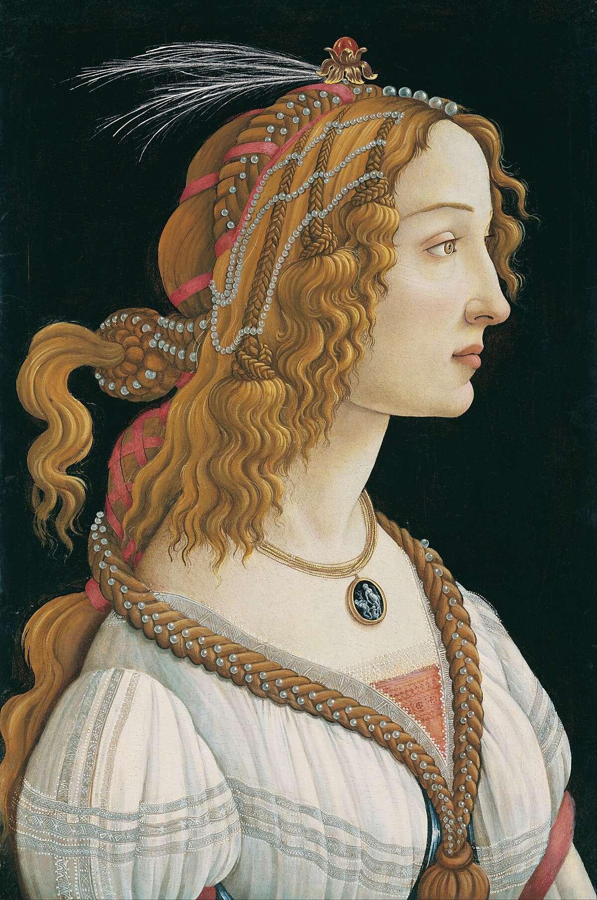 "Sandro Botticelli, ""Idealized Portrait of a Lady (Portrait of Simonetta Vespucci as a Nymph)"" (c. 1480-85), mixed technique on wood panel"