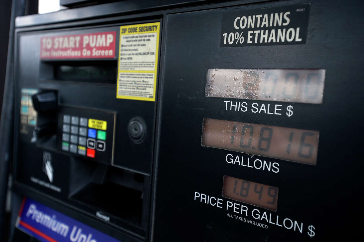 A sticker noting 10% ethanol gasoline on a pump at the RaceWay gas station in Beaumont on Tuesday. Some gas station chains are preparing to sell gasoline blended with 15% ethanol. Photo taken Tuesday 9/13/16 Ryan Pelham/The Enterprise