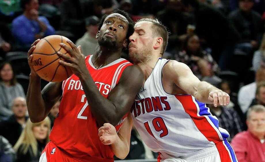 Detroit Pistons guard Beno Udrih (19) guards Houston Rockets guard Patrick Beverley (2) in the first half of an NBA basketball game in Auburn Hills, Mich., Monday, Nov. 21, 2016. (AP Photo/Paul Sancya) Photo: Paul Sancya, STF / Copyright 2016 The Associated Press. All rights reserved.