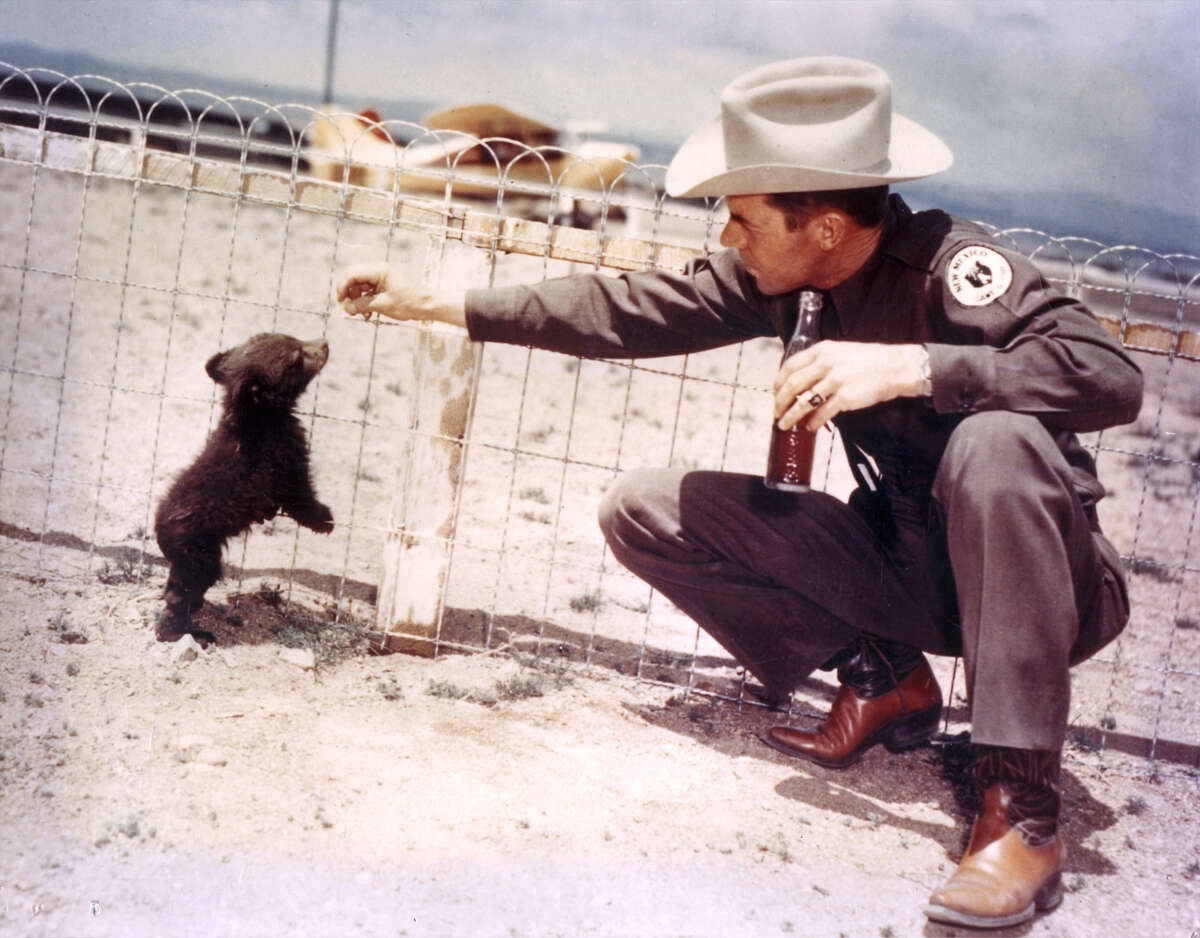 After the cub who would come to be known as Smokey Bear was rescued from a New Mexico fire, game officer Ray Bell, left, helped nurse him back to health before he moved to the National Zoo in Washington. He lived there until his death at age 26, when he was returned to Capitan, N.M., for burial.