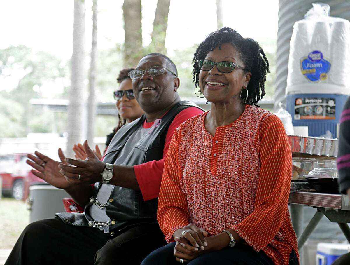 Mike Grady left, his wife Sherunda Johnson-Grady right, during a Equipperes Bible Fellowship Healthy Family gathering at Alexander Deussen Park Nov. 2, 2016, in Houston. Grady was once homeless, but is now a doctoral student at Texas Southern University. ( James Nielsen / Houston Chronicle )