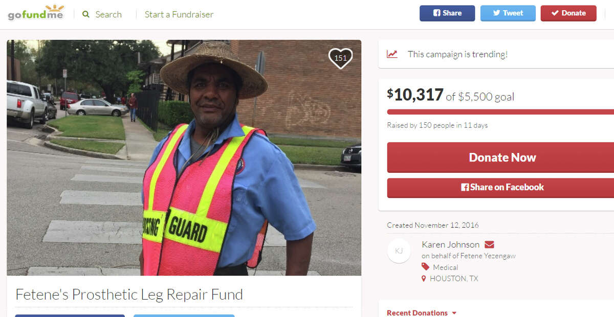 A parent of a student at Harvard Elementary in the Heights started a GoFundMe page for crossing guard Fetene Yezengaw, who needs his prosthetic leg replaced. The page was trending on the crowdfunding website Wednesday evening.