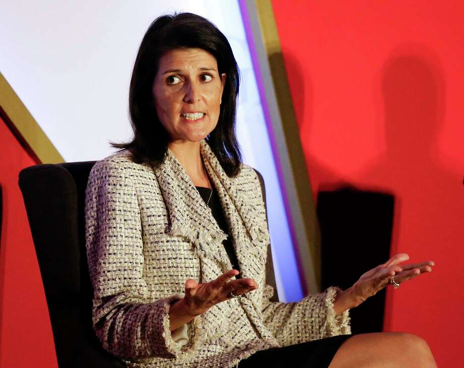 FILE - In this Nov. 15, 2016 file photo, South Carolina Gov. Nikki Haley speaks in Orlando, Fla. President-elect Donald Trump says he intends to nominate Haley to be the next U.S. ambassador to the United Nations. (AP Photo/John Raoux, File) Photo: John Raoux, STF / Copyright 2016 The Associated Press. All rights reserved.