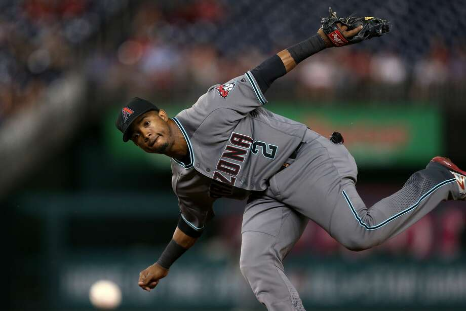 Jean Segura of the Arizona Diamondbacks makes a throw to first base for the third out of the second inning against the Washington Nationals at Nationals Park on September 27, 2016 in Washington, DC. (Photo by Matthew Hazlett/Getty Images) Photo: Matthew Hazlett/Getty Images