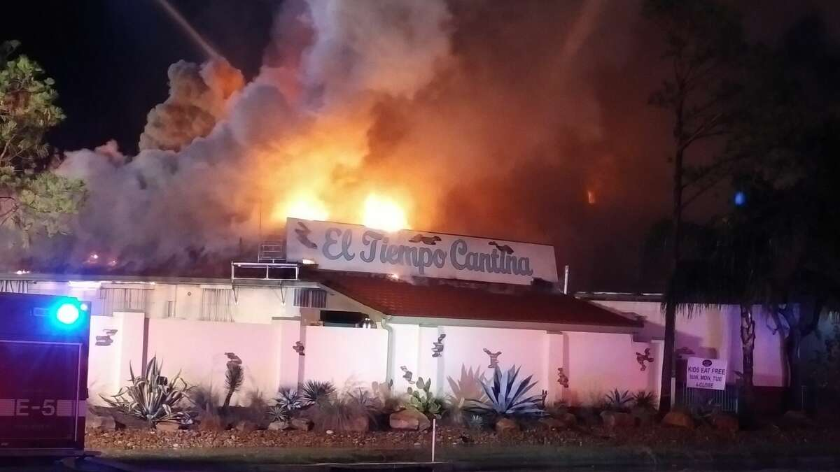The El Tiempo Cantina on Kingsland Boulevard in Katy caught fire Wednesday night. Several fire departments responded to help put out the blaze.
