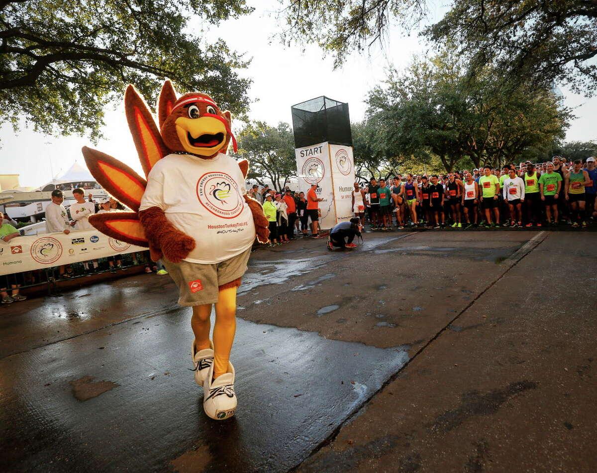 Sassy, the turkey, warms up before the start of the 2016 Houston Turkey Trot, Thursday, Nov. 24, 2016, in Houston.