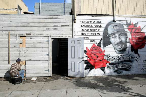 The mural for Mario Woods seen on Oakdale at Third streets on Tuesday, November 22, 2016, in San Francisco, Calif.   Mario Woods, 26 years old, was shot December 2 last year by police near Fitzgerald Ave. on Third St.
