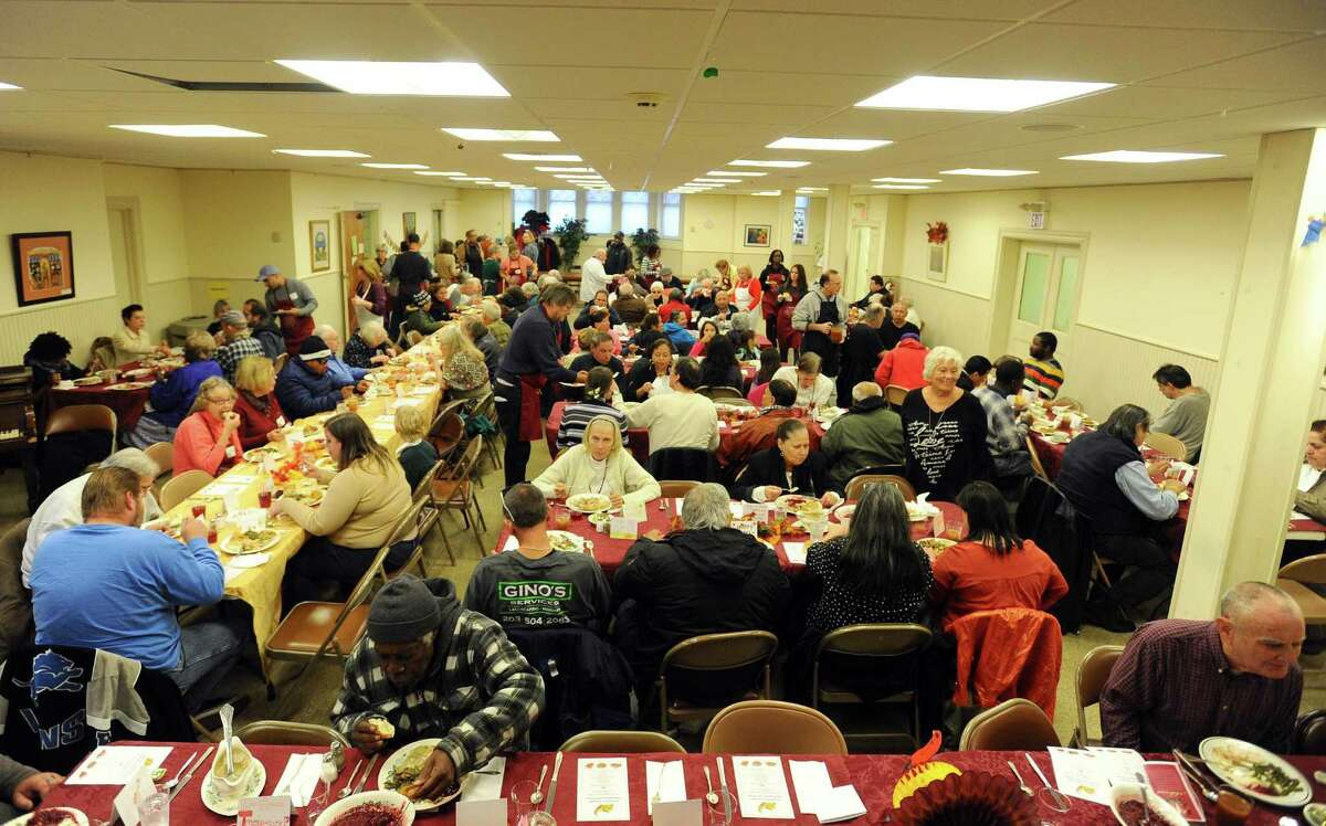 The First Congregational Church hosted a Thanksgiving Day dinner inside their church in Stamford, Conn. on Thursday, Nov. 24, 2016.