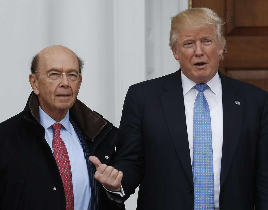 """Wilbur Ross Jr. (left) is reportedly President-elect Donald Trump's top choice to head the Commerce Department. The billionaire investor has been called the """"king of bankruptcy."""" Photo: Carolyn Kaster, Associated Press"""