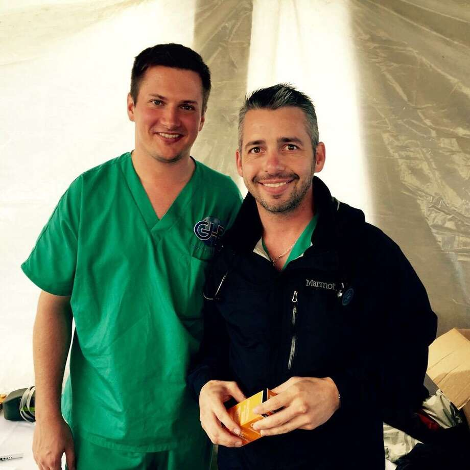 Co-founders of the nonprofit Global Health Reach Wade Becker (left) and Art Campsey during the group's inaugural trip to Santa Apolonia, Guatemala, in June. GHR provides ongoing health care to underserved communities in Guatemala and Vietnam. Photo: Courtesy Photo / Courtesy
