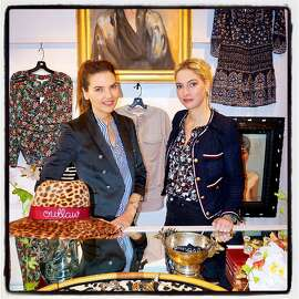 Fashion designers Veronica Miele Beard (left) and her sister-in-law, Veronica Swanson Beard, hosted a Ken Fulk-designed Veronica pop-up on Sacramento Street. Nov 2016.