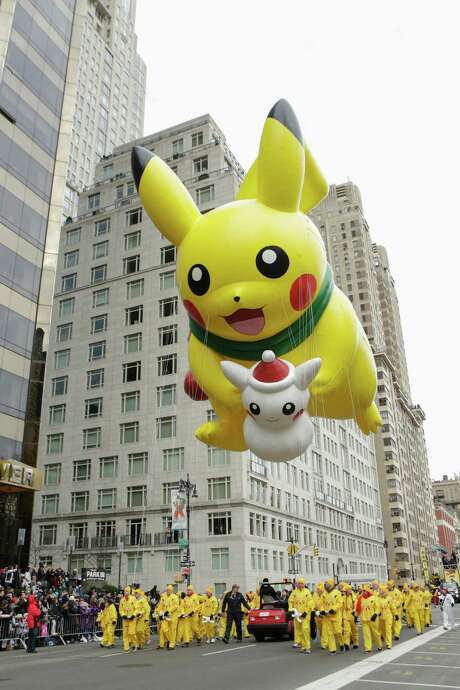 The Pikachu balloon floats down Central Park West during the 90th annual Macy's Thanksgiving Day Parade on Nov. 24, 2016 in New York. Photo: KENA BETANCUR, Stringer / AFP or licensors