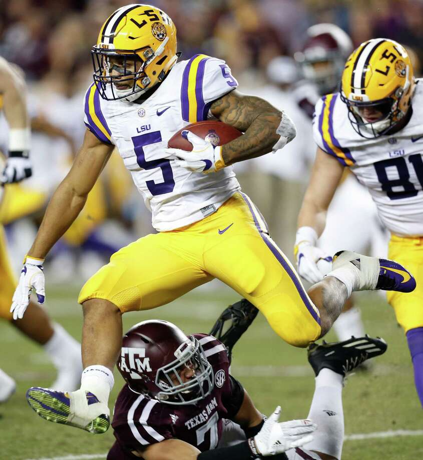 LSU running back Derrius Guice (5) will gain his first yards of the 2017 season on Saturday when the Tigers face BYU at the Superdome. Photo: Brett Coomer, Staff / © 2016 Houston Chronicle