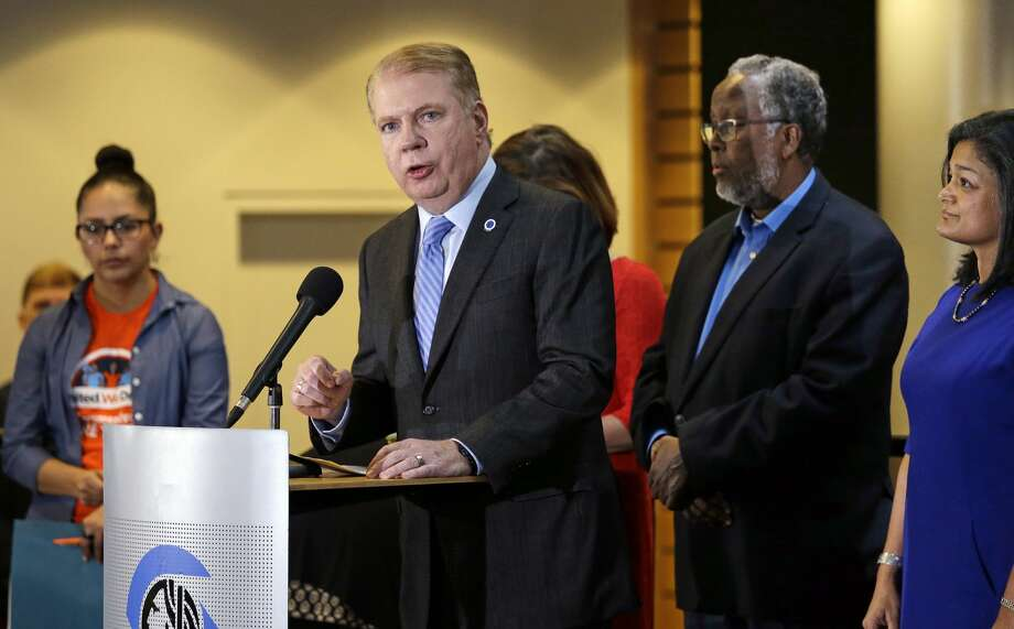 """Seattle Mayor Ed Murray takes out after President-elect Donald Trump a day after the November election saying the country had elected a leader who has """"demonstrated outright misogyny"""" and displayed """"racism and authoritarian tendencies."""" It was a principled stand, but also good politics in a city where Trump received only 8 percent of the vote. Murray is up for reelection in 2017. (AP Photo/Elaine Thompson) Photo: Elaine Thompson/AP"""