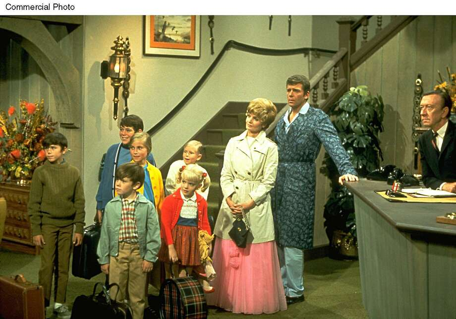 """Florence Henderson (third from right) co-starred on """"The Brady Bunch"""" with Christopher Knight (left), Mike Lookinland (front), Barry Williams, Maureen McCormick, Susan Olsen, Eve Plumb, Robert Reed and James Millhollin. Photo: PRN"""