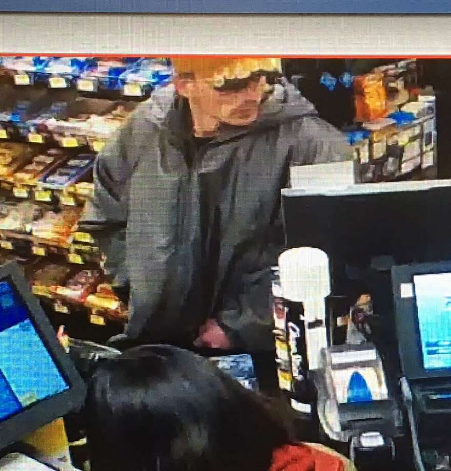 This is the suspect in the Thursday, Nov. 24, 2016 robbery of the Alltown gas station/convenience store on the Wilbur Cross Parkway in Orange. The suspect is described as white male in his 30s with blonde or light brown hair and a goatee. The suspect was wearing an orange baseball hat and gray raincoat/jacket.Troopers searched the area for the suspect but did not locate him. Photo: Connecticut State Police