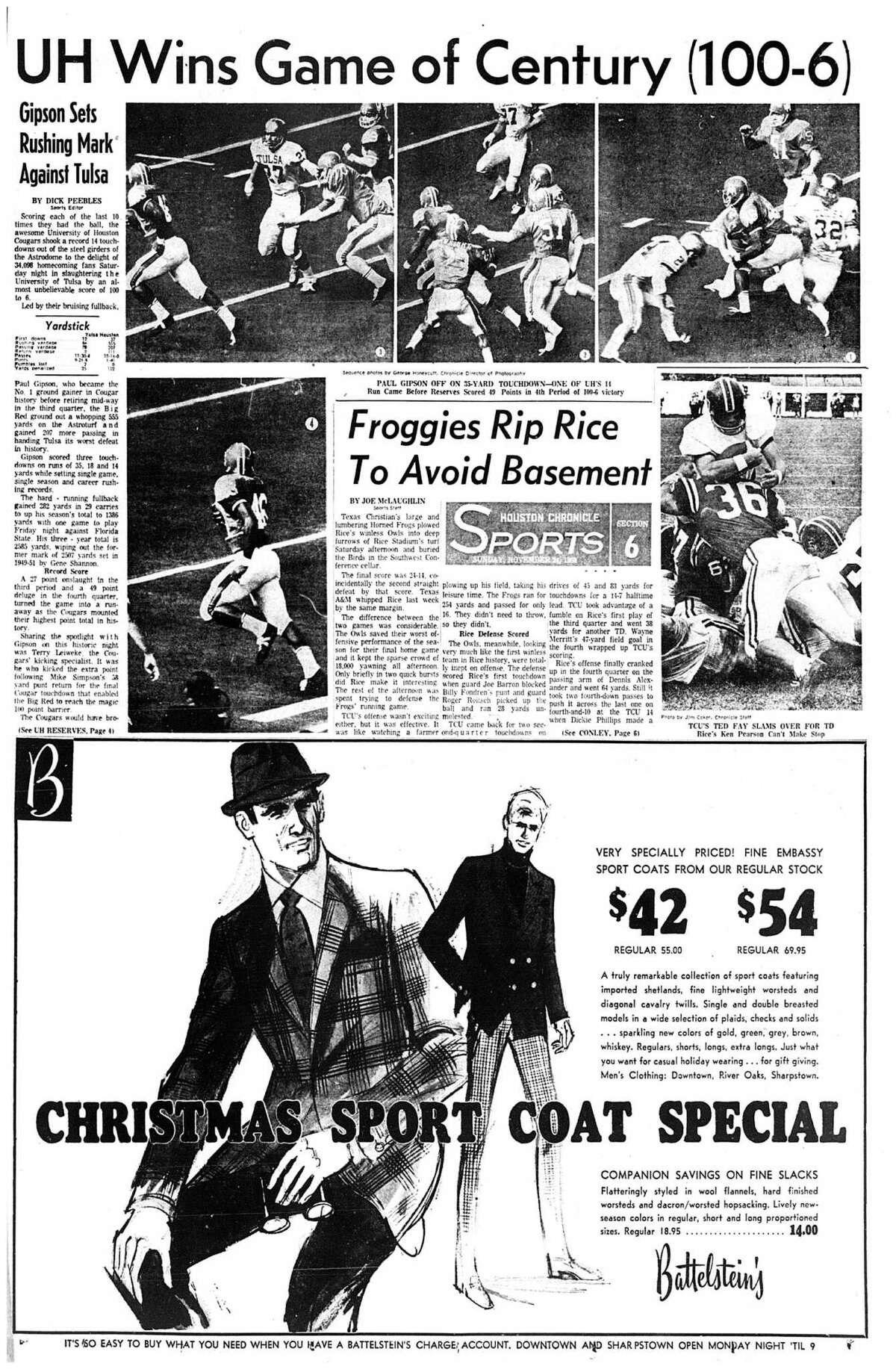 Houston Chronicle inside page (HISTORIC) Â?- November 24, 1968 - section 6, page 1. UH Wins Game of Century (100-6) Gipson Sets Rushing Mark Against Tulsa