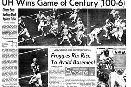 Houston Chronicle inside page (HISTORIC) – November 24, 1968 - section 6, page 1. UH Wins Game of Century (100-6) Gipson Sets Rushing Mark Against Tulsa
