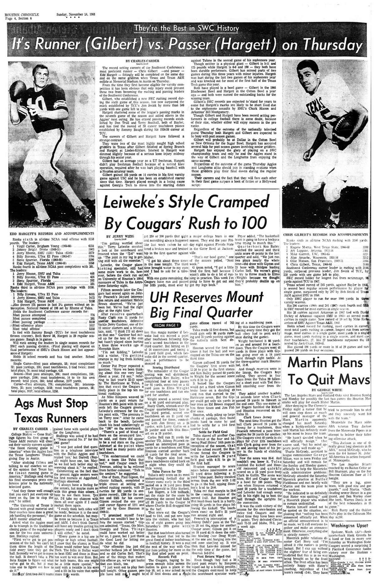 Houston Chronicle inside page (HISTORIC) Â?- November 24, 1968 - section 6, page 4. UH Reserves Mount Big Final Quarter. Leiweke's Style Cramped By Cougars' Rush to 100
