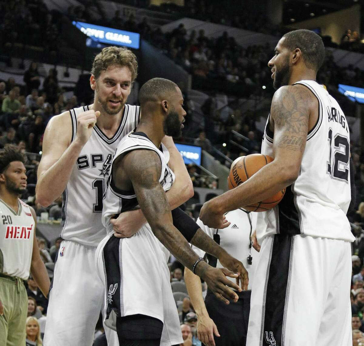 Pau Gasol (left) is quickly developing chemistry with his new Spurs teammates.