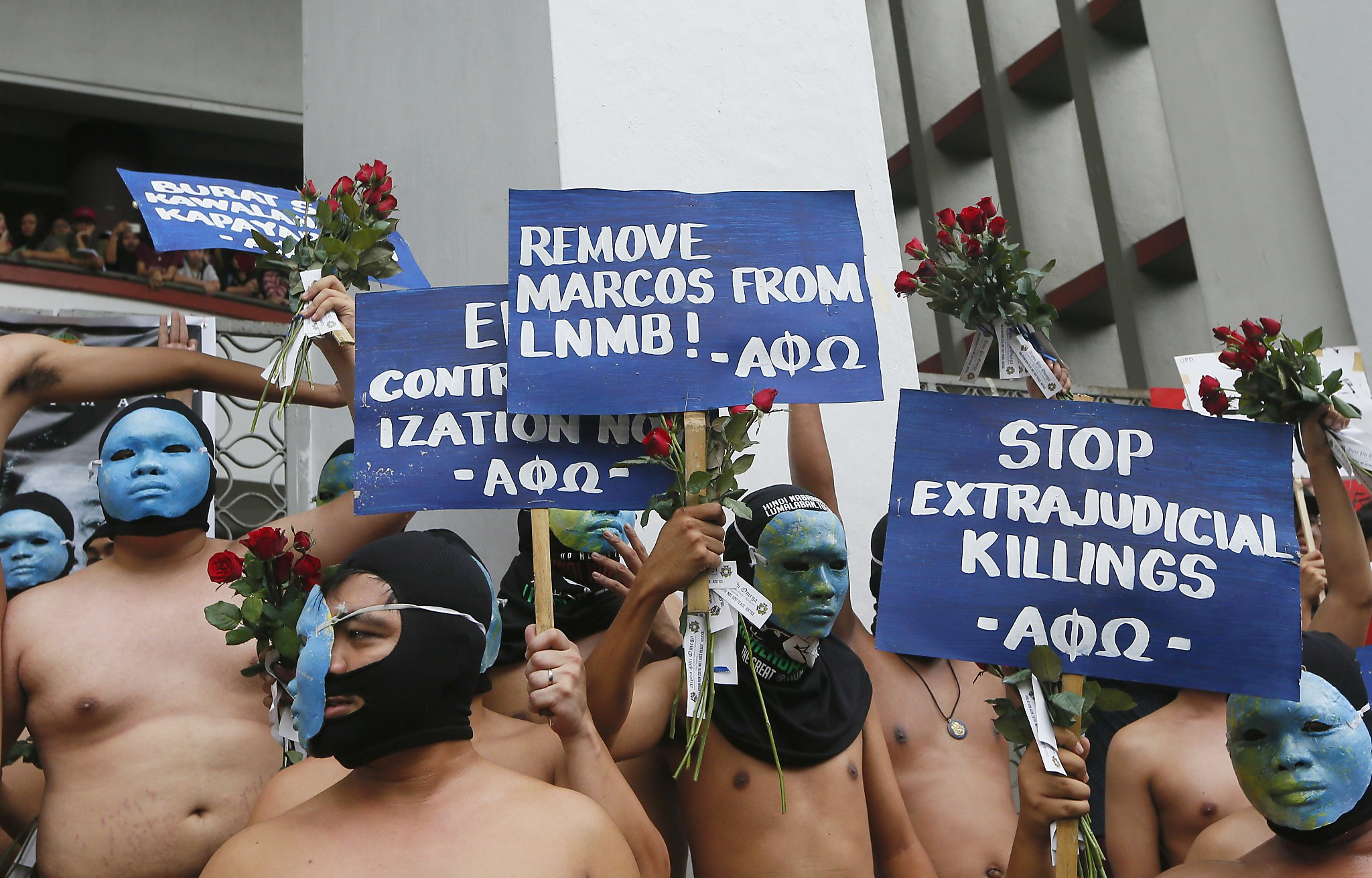 Heros Nude Images nude students, filipino activists protest dictator's burial