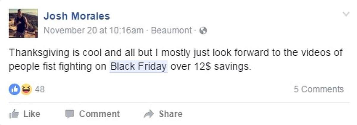 Southeast Texans capture Black Friday on social media.