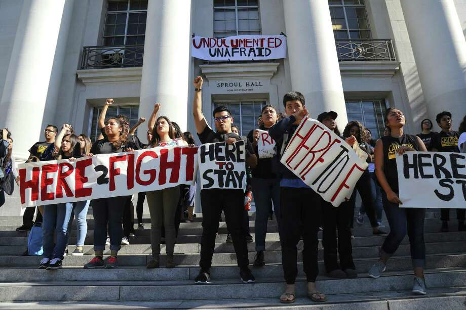 Latino students protest Donald Trump on the steps at Sproul Plaza at the campus of the University of California, Berkeley on Oct. 9. Now that he will soon be President Trump, immigration concerns are front and center. Photo: JIM WILSON /NYT / NYTNS