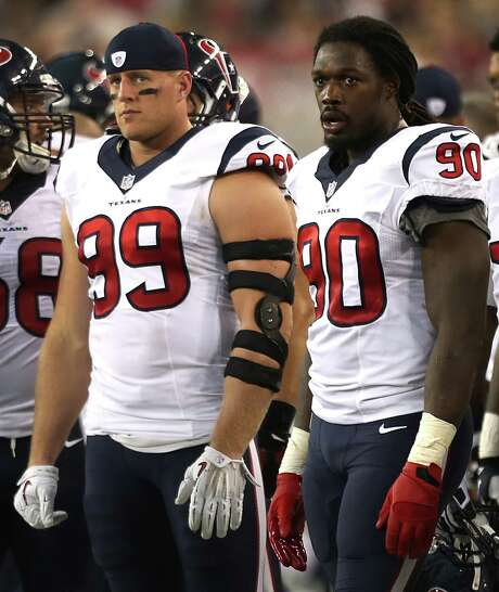 After injuries derailed their impact together the past three seasons, the Texans hope to unleash J.J. Watt and Jadeveon Clowney (90) as a devastating pass-rush duo this year. Photo: Brett Coomer, Staff / © 2014  Houston Chronicle